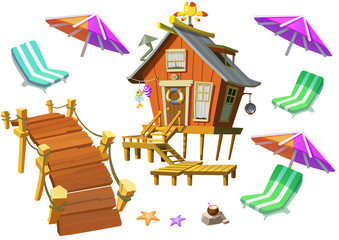Illustration: Fantastic Tropical Beach Elements Set 2. Wooden House, Bridge, Beach Chair etc. Realistic Cartoon Style Elements Design.