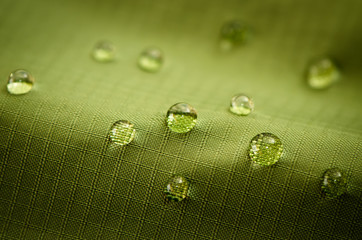 Waterproof Fabric Up Close - Green with Water Beads