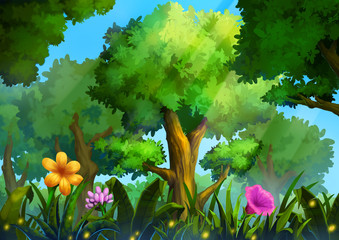 Illustration: Green Forest With Deep Grass and Magical Flowers. Realistic Cartoon Style Scene / Wallpaper / Background Design.