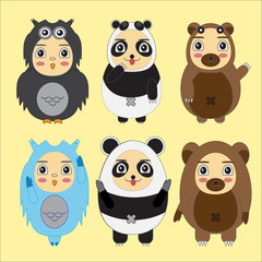 Vector set of cartoon kids in animal costumes. Cartoon icons col
