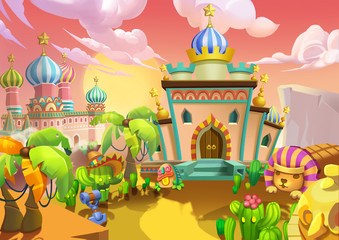 Illustration: The Desert City. The Palaces, Royal Residences. Realistic Cartoon Style Scene / Wallpaper / Background Design.
