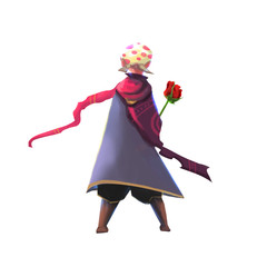 Illustration: A Little Prince with His Rose. Realistic Cartoon Style Character Design.