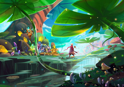 """Illustration: A Little Prince and His Rose is on a Journey of Fantastic Adventure about Recognizing """"Love"""". Realistic Cartoon Style Scenery / Wallpaper / Background Design."""