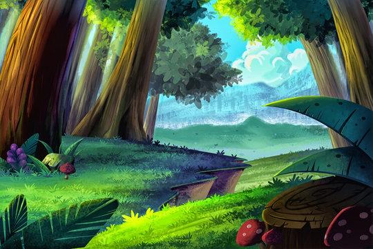 Illustration: Cartoon Forest. Realistic Cartoon Style Scene / Wallpaper / Background Design.