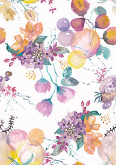 Seamless pattern with Beautiful watercolor flowers, Watercolor painting