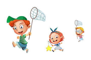 Illustration: Kids / Children isolated. They are Running, Playing, Very Happy! Realistic Cartoon Style Character Design.