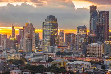Bangkok business district at sunset, sunrise.