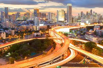 Landscape building modern business district of Bangkok. S-shaped