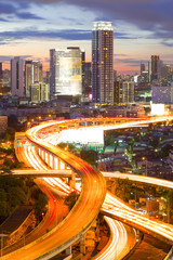 Landscape building modern business district of Bangkok. S-shaped