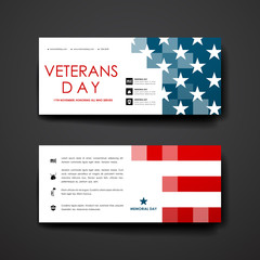 Set of modern design banner template in veterans day style