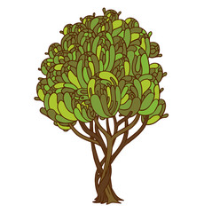 Vector tree. Image of the tree with a brown trunk and different shades of green leaves on a white background.