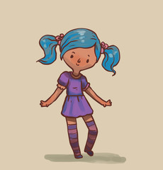 Vector Cute little girl with blue hair. Cartoon image of a cute little girl with blue hair in a purple dress and purple striped golfs on a light background.