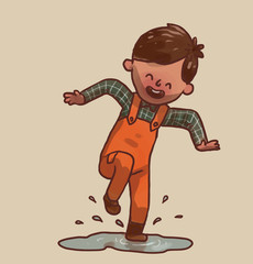 Vector Little boy in a puddle. Cartoon image of a little boy with brown hair in a green plaid shirt and orange overalls jumping on a gray puddle on a light background.