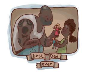Vector brown frame with cartoon image of a bald black man - dad playing with dolls with a little black girl with black hair - daughter on a light background.