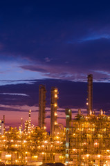 petrochemical plant in the twilight