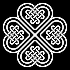 Four-leaf clover shaped knot made of Celtic heart shape knots, vector illustration
