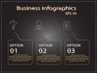 Polygonal infographics with squares and many business icons black and gold luxury