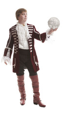man in medieval clothes with decorative ball