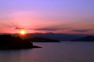 Sunset/Sunset at kaeng krachan dam,thailand.