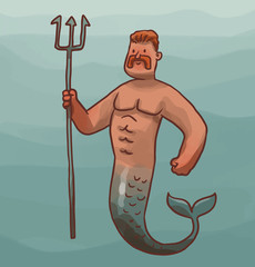Vector cartoon image of a mermaid male with ginger hair and a mustache with a silver tail and with a gray trident in his hand on blue sea background.