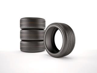 3d illustration of four black sport tires. Isolated on white