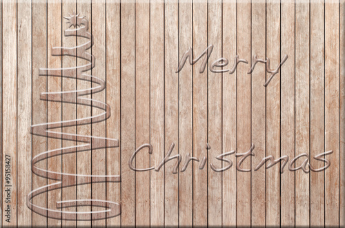 sapin et merry christmas sur panneau bois brut stock. Black Bedroom Furniture Sets. Home Design Ideas