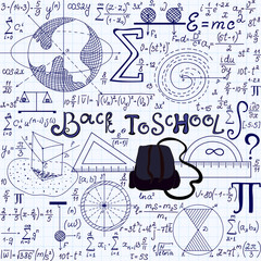 "Beautiful vector seamless texture with school tools, spheres, other geometrical figures, equations and calculations, ""Back to school"". Educational endless texture"