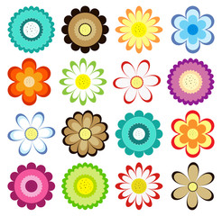 Set of colorful flowers icons. Vector collection for design greeting cards, stickers, fabrics, labels, gift wrapping paper and tags.
