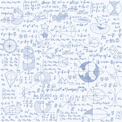 Math education vector seamless pattern with figures, handwritten formulas, tasks, plots and calculations. Mathematical background handwritten on a copybook grid paper, endless texture