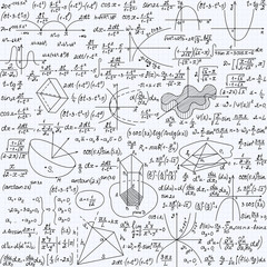Mathematical vector seamless pattern with formulas, plots and equations, handwritten texture on a copybook paper sheet