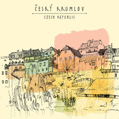 Bohemian Crumlaw, Czech republic, Europe. Hand drawn postcard