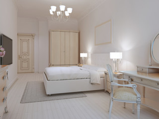 White bedroom art deco style
