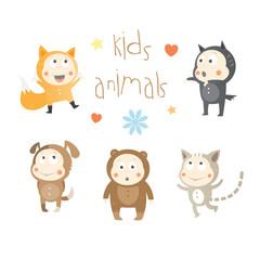 Kids animals set. Vector image. Fox, wolf, dog, cat and bear.