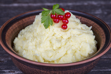 Ukrainian national dish is mashed potatoes in plate
