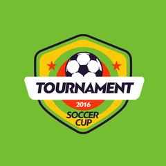 Vintage african color football soccer championship logo - team badge.