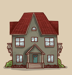 Vector cartoon image of a cute little gray house with red roof, three floors, six windows and blue door with green spaces around on a light background.