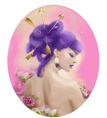 Sagittarius zodiac portret beautiful fantasy girl