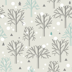 Seamless pattern for Winter forest  and christmas theme. Vector illustration