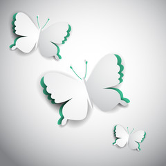 3d vector paper butterfly, realistic illustration for greeting card, project cover design
