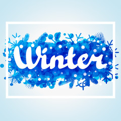 Winter abstract background design with snowflakes and snow
