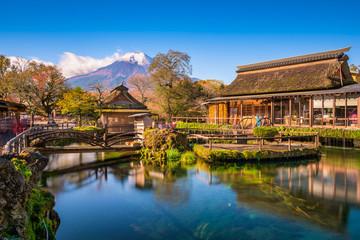 Mt. Fuji and Traditional Village in Oshinohakkai, Japan. Wall mural