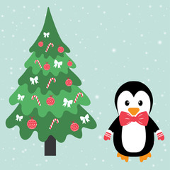penguin and fir-tree