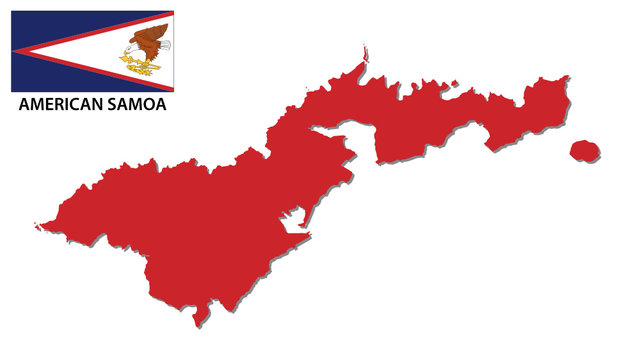 american samoa map with flag