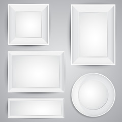 Realistic vector frames set design with shadows in white color, square, circle and rectangle