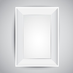 Realistic rectangle vector frame design with shadows in white color