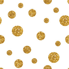 Dots seamless pattern with golden glitter texture.