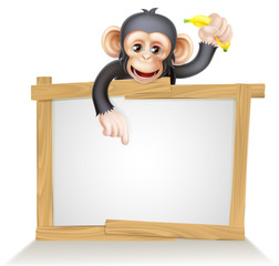 Cartoon Chimp Monnkey Sign
