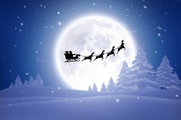 Composite image of silhouette of santa claus and reindeer