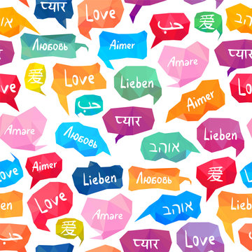 """Seamless pattern - speech bubbles with """"Love"""" on different languages"""