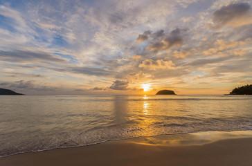 Beautiful sunset seen from kata beach  in Phuket, Thailand
